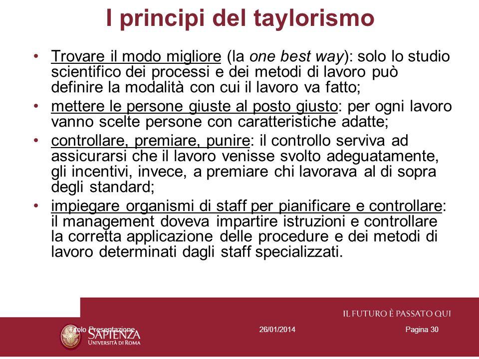 26/01/2014Titolo PresentazionePagina 30 I principi del taylorismo Trovare il modo migliore (la one best way): solo lo studio scientifico dei processi