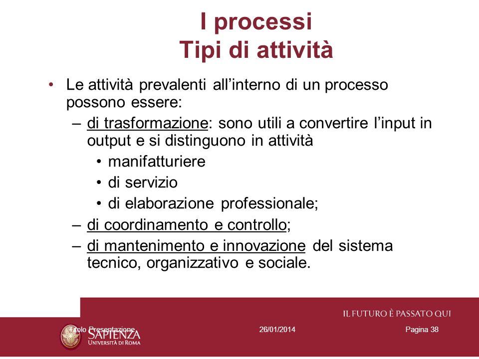 26/01/2014Titolo PresentazionePagina 38 Le attività prevalenti allinterno di un processo possono essere: –di trasformazione: sono utili a convertire l