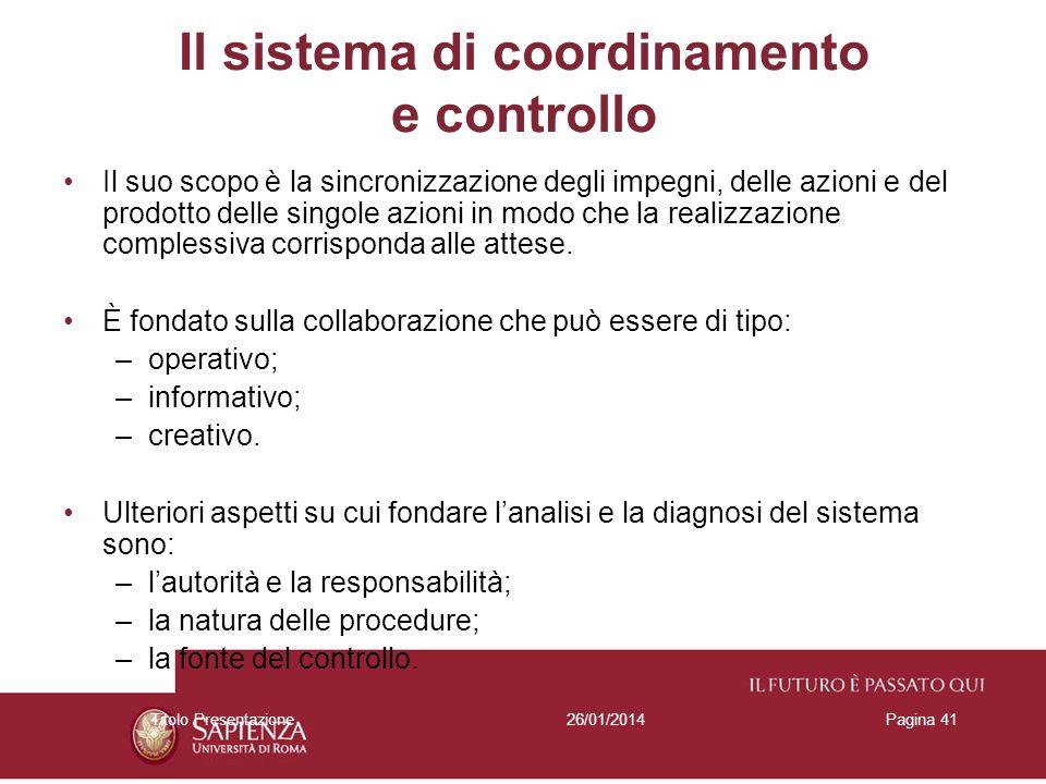 26/01/2014Titolo PresentazionePagina 41 Il sistema di coordinamento e controllo Il suo scopo è la sincronizzazione degli impegni, delle azioni e del p