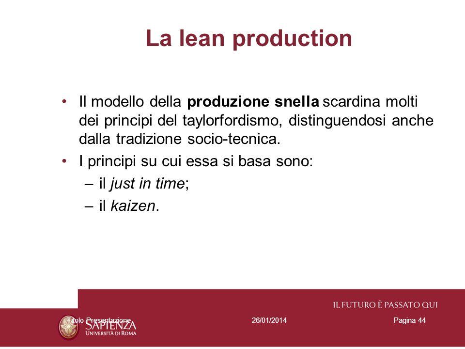 26/01/2014Titolo PresentazionePagina 44 La lean production Il modello della produzione snella scardina molti dei principi del taylorfordismo, distingu