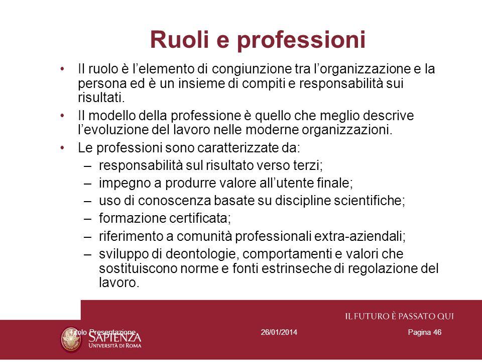 26/01/2014Titolo PresentazionePagina 46 Ruoli e professioni Il ruolo è lelemento di congiunzione tra lorganizzazione e la persona ed è un insieme di c