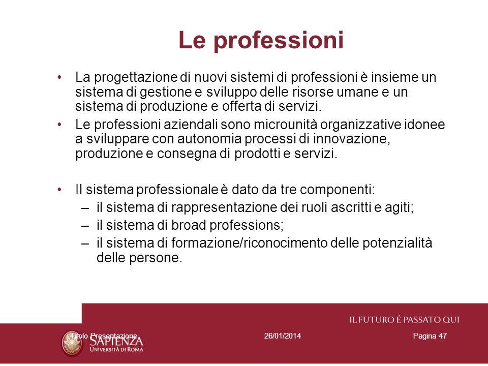 26/01/2014Titolo PresentazionePagina 47 Le professioni La progettazione di nuovi sistemi di professioni è insieme un sistema di gestione e sviluppo de