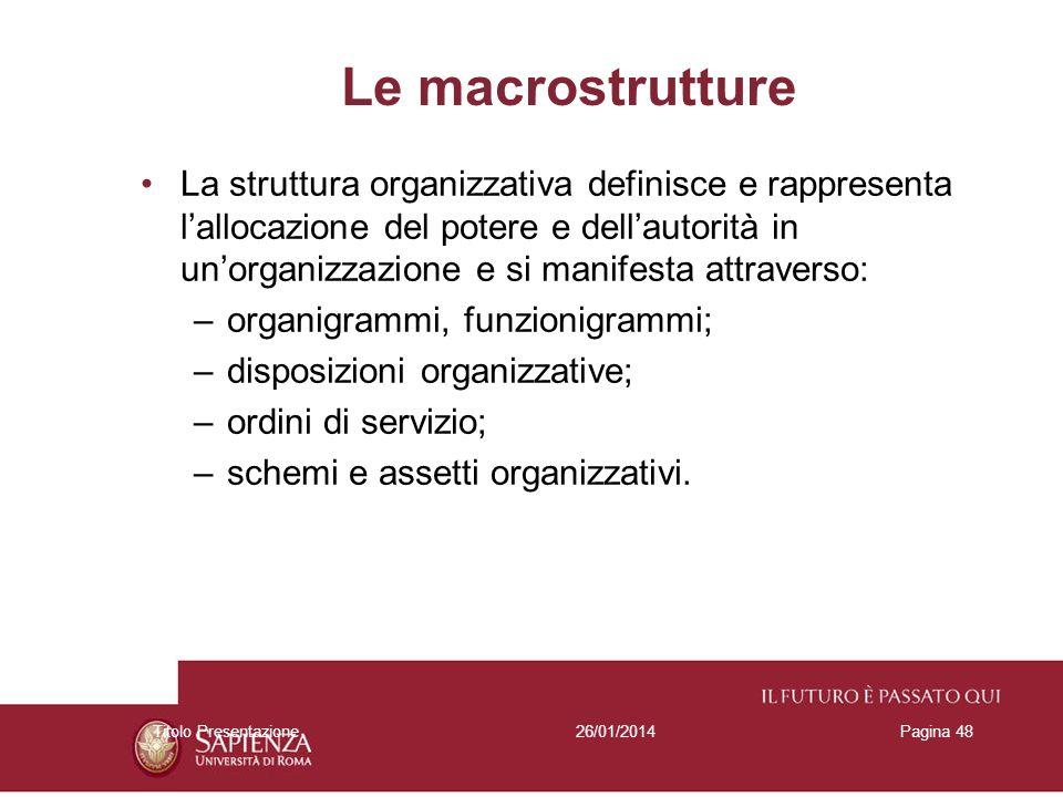 26/01/2014Titolo PresentazionePagina 48 Le macrostrutture La struttura organizzativa definisce e rappresenta lallocazione del potere e dellautorità in