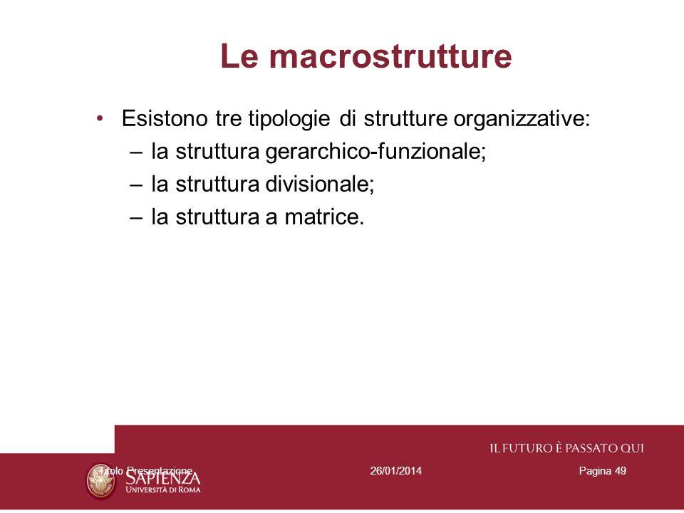 26/01/2014Titolo PresentazionePagina 49 Le macrostrutture Esistono tre tipologie di strutture organizzative: –la struttura gerarchico-funzionale; –la