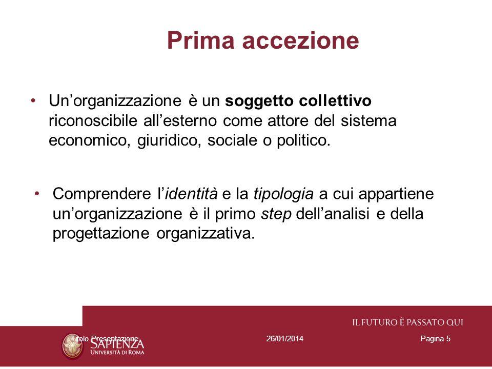 26/01/2014Titolo PresentazionePagina 5 Prima accezione Unorganizzazione è un soggetto collettivo riconoscibile allesterno come attore del sistema econ
