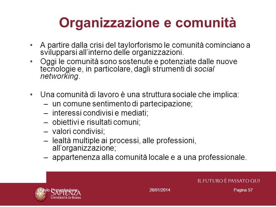 26/01/2014Titolo PresentazionePagina 57 Organizzazione e comunità A partire dalla crisi del taylorforismo le comunità cominciano a svilupparsi allinte