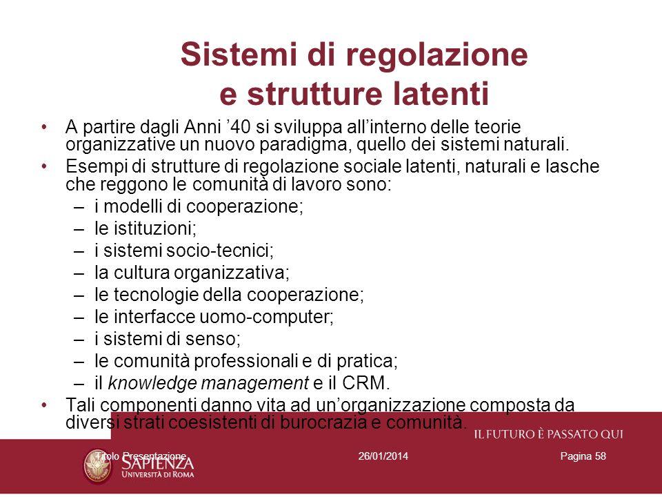 26/01/2014Titolo PresentazionePagina 58 Sistemi di regolazione e strutture latenti A partire dagli Anni 40 si sviluppa allinterno delle teorie organiz