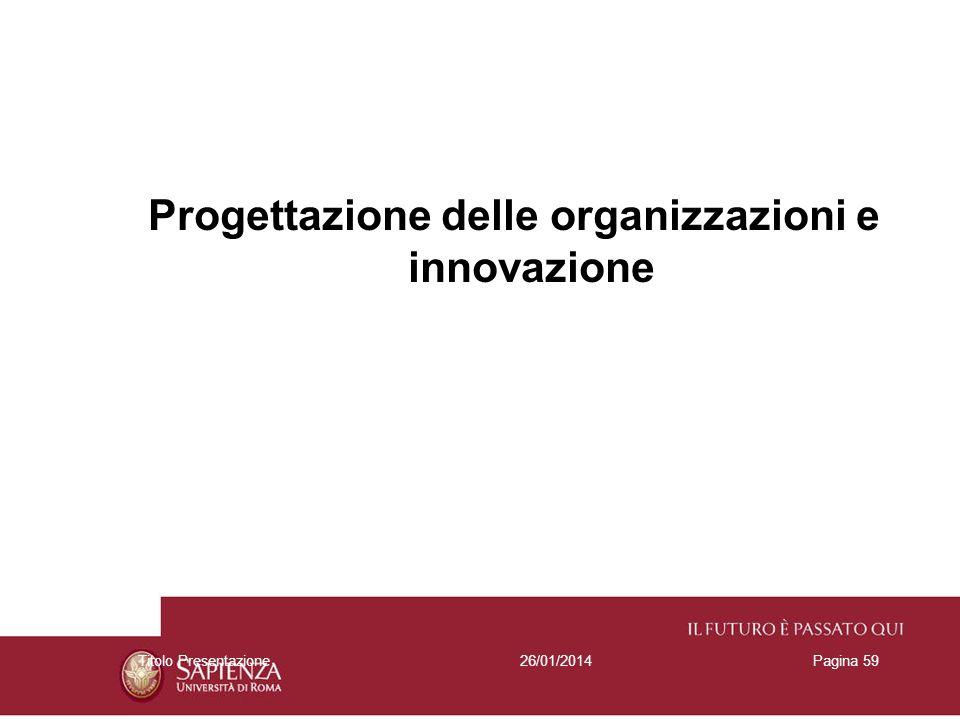 26/01/2014Titolo PresentazionePagina 59 Progettazione delle organizzazioni e innovazione