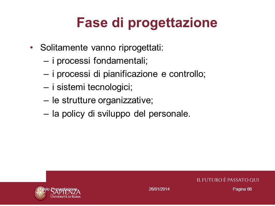 26/01/2014Titolo PresentazionePagina 66 Fase di progettazione Solitamente vanno riprogettati: –i processi fondamentali; –i processi di pianificazione