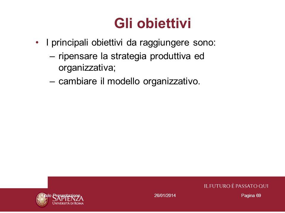 26/01/2014Titolo PresentazionePagina 69 Gli obiettivi I principali obiettivi da raggiungere sono: –ripensare la strategia produttiva ed organizzativa;