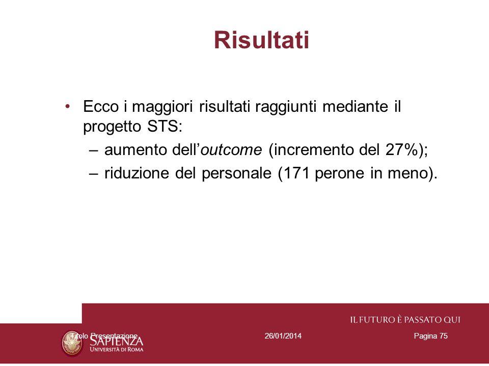 26/01/2014Titolo PresentazionePagina 75 Risultati Ecco i maggiori risultati raggiunti mediante il progetto STS: –aumento delloutcome (incremento del 2