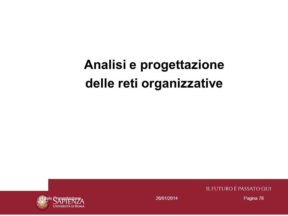 26/01/2014Titolo PresentazionePagina 76 Analisi e progettazione delle reti organizzative