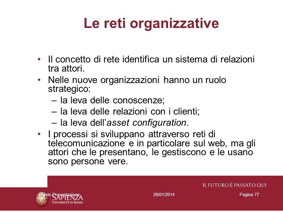 26/01/2014Titolo PresentazionePagina 77 Le reti organizzative Il concetto di rete identifica un sistema di relazioni tra attori. Nelle nuove organizza