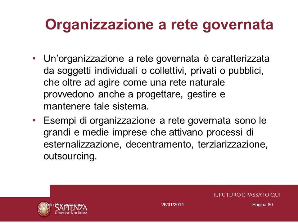 26/01/2014Titolo PresentazionePagina 80 Organizzazione a rete governata Unorganizzazione a rete governata è caratterizzata da soggetti individuali o c
