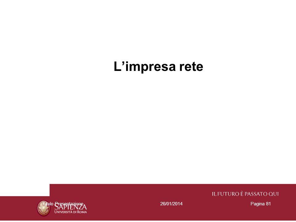 26/01/2014Titolo PresentazionePagina 81 Limpresa rete