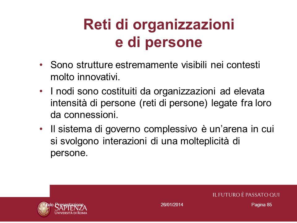 26/01/2014Titolo PresentazionePagina 85 Reti di organizzazioni e di persone Sono strutture estremamente visibili nei contesti molto innovativi. I nodi