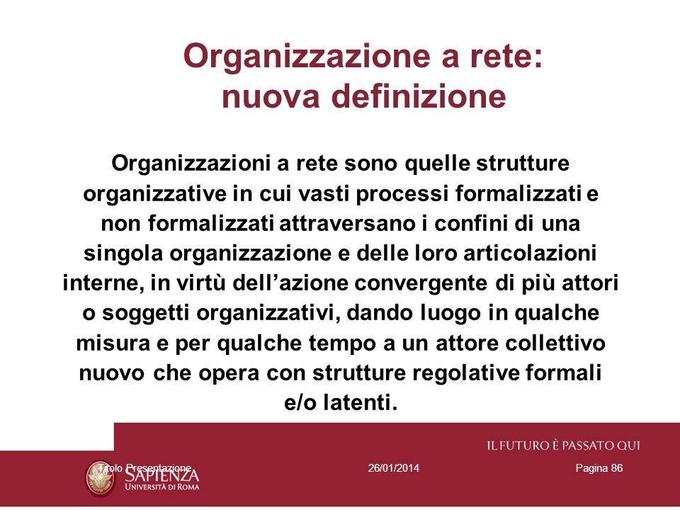 26/01/2014Titolo PresentazionePagina 86 Organizzazione a rete: nuova definizione Organizzazioni a rete sono quelle strutture organizzative in cui vast