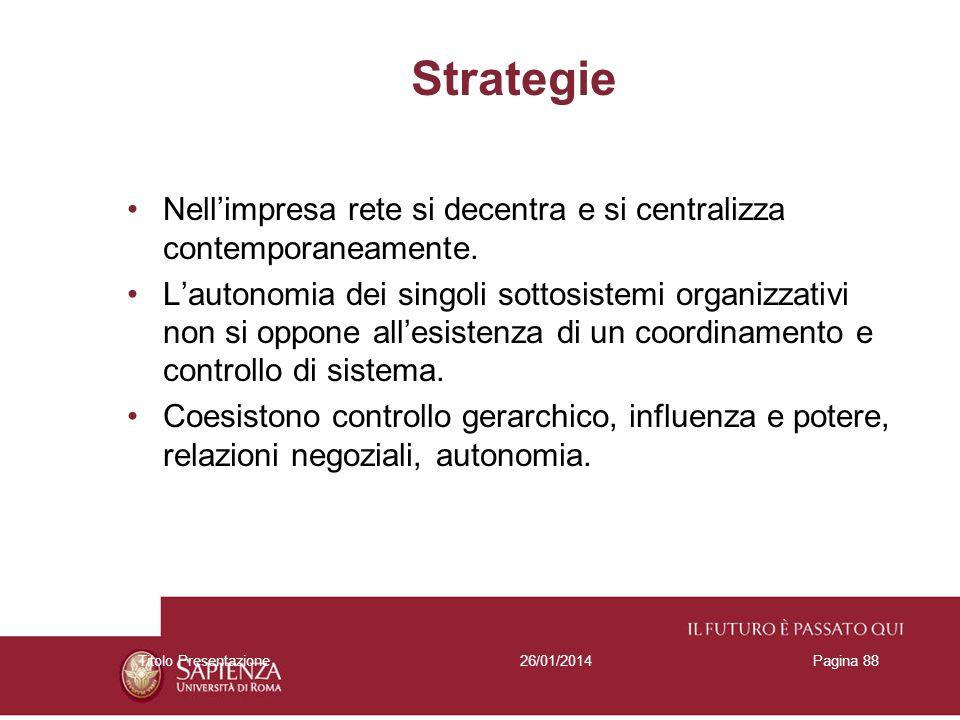 26/01/2014Titolo PresentazionePagina 88 Strategie Nellimpresa rete si decentra e si centralizza contemporaneamente. Lautonomia dei singoli sottosistem