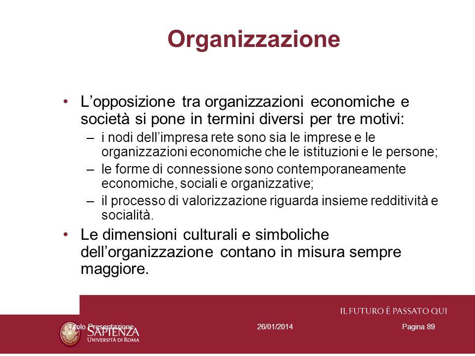 26/01/2014Titolo PresentazionePagina 89 Organizzazione Lopposizione tra organizzazioni economiche e società si pone in termini diversi per tre motivi:
