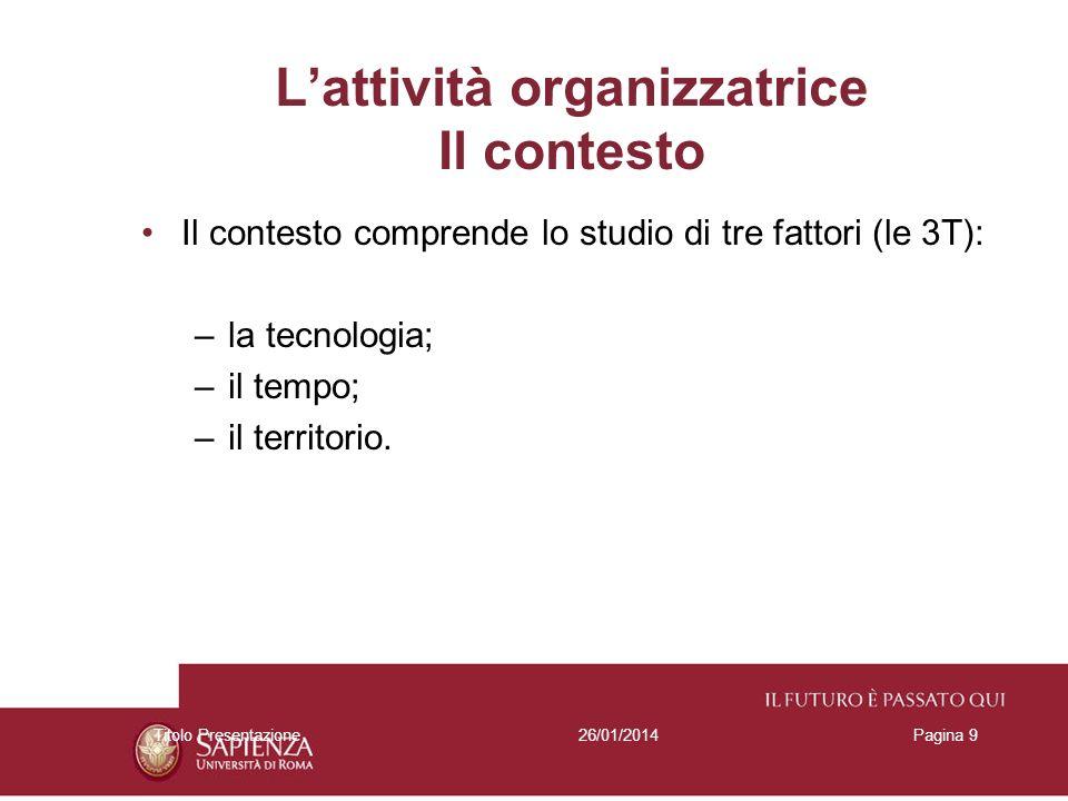 26/01/2014Titolo PresentazionePagina 9 Lattività organizzatrice Il contesto Il contesto comprende lo studio di tre fattori (le 3T): –la tecnologia; –i