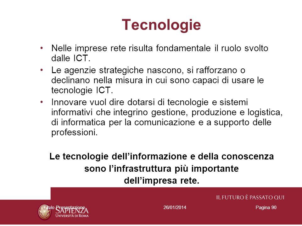 26/01/2014Titolo PresentazionePagina 90 Tecnologie Nelle imprese rete risulta fondamentale il ruolo svolto dalle ICT. Le agenzie strategiche nascono,
