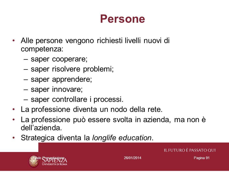 26/01/2014Titolo PresentazionePagina 91 Persone Alle persone vengono richiesti livelli nuovi di competenza: –saper cooperare; –saper risolvere problem