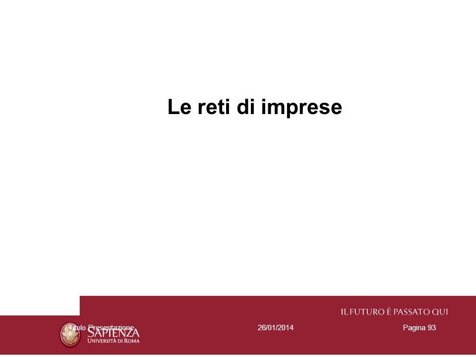 26/01/2014Titolo PresentazionePagina 93 Le reti di imprese