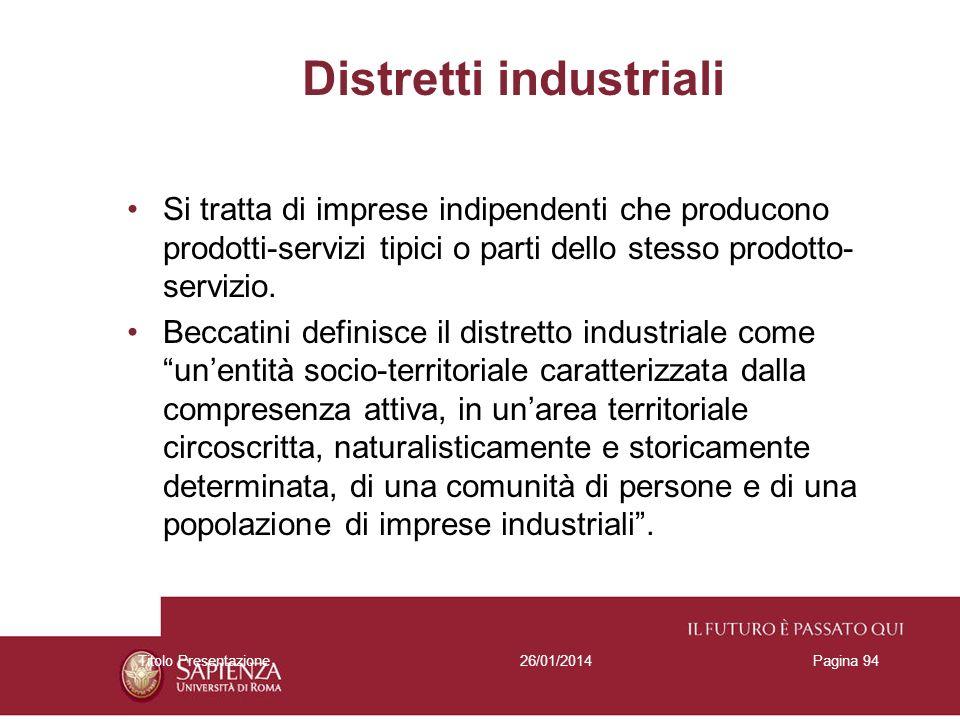 26/01/2014Titolo PresentazionePagina 94 Distretti industriali Si tratta di imprese indipendenti che producono prodotti-servizi tipici o parti dello st