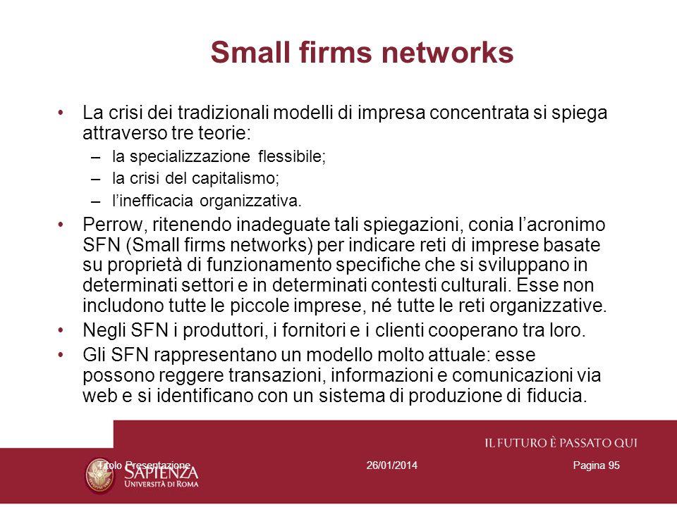 26/01/2014Titolo PresentazionePagina 95 Small firms networks La crisi dei tradizionali modelli di impresa concentrata si spiega attraverso tre teorie: