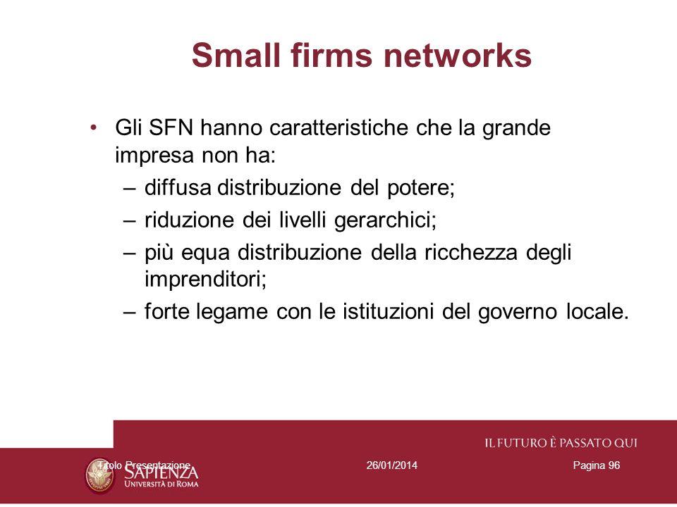 26/01/2014Titolo PresentazionePagina 96 Gli SFN hanno caratteristiche che la grande impresa non ha: –diffusa distribuzione del potere; –riduzione dei