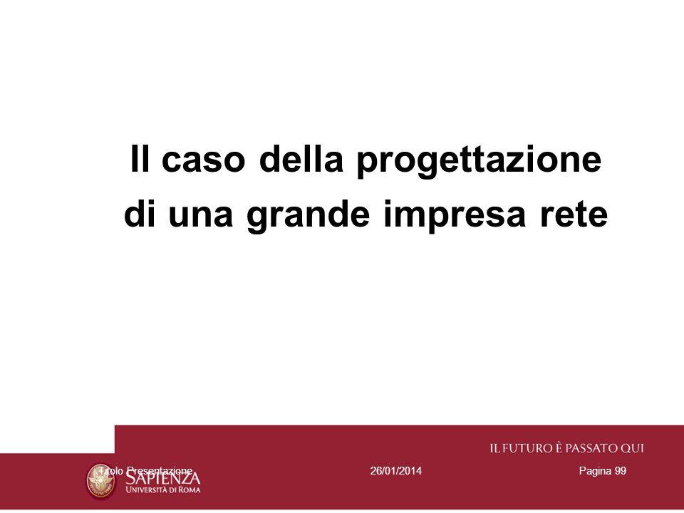 26/01/2014Titolo PresentazionePagina 99 Il caso della progettazione di una grande impresa rete