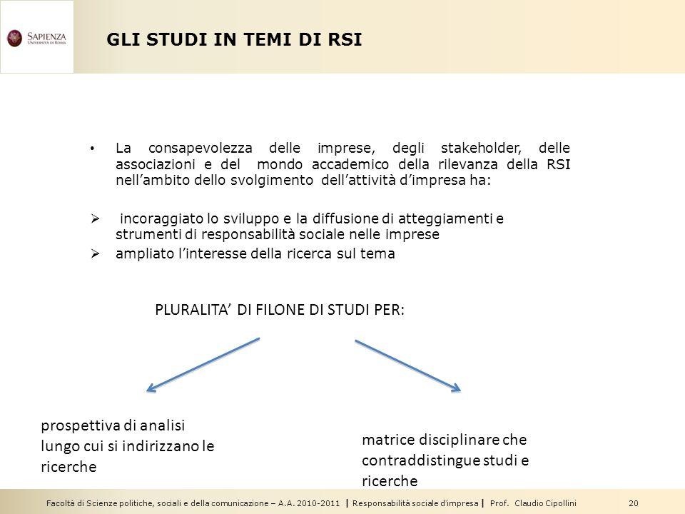 Facoltà di Scienze politiche, sociali e della comunicazione – A.A. 2010-2011   Responsabilità sociale dimpresa   Prof. Claudio Cipollini 20 GLI STUDI