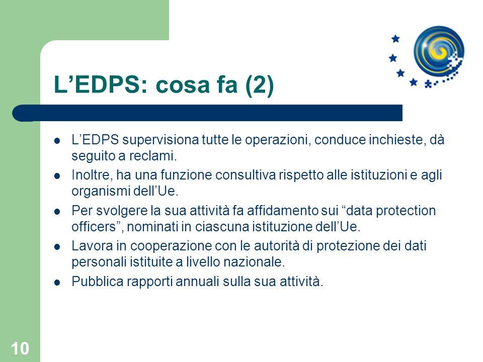 10 LEDPS: cosa fa (2) LEDPS supervisiona tutte le operazioni, conduce inchieste, dà seguito a reclami. Inoltre, ha una funzione consultiva rispetto al