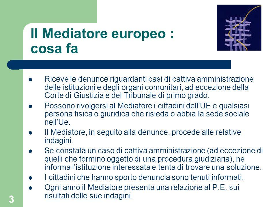 3 Il Mediatore europeo : cosa fa Riceve le denunce riguardanti casi di cattiva amministrazione delle istituzioni e degli organi comunitari, ad eccezio