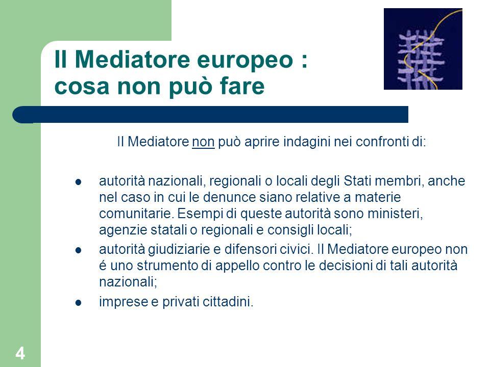 4 Il Mediatore europeo : cosa non può fare Il Mediatore non può aprire indagini nei confronti di: autorità nazionali, regionali o locali degli Stati m