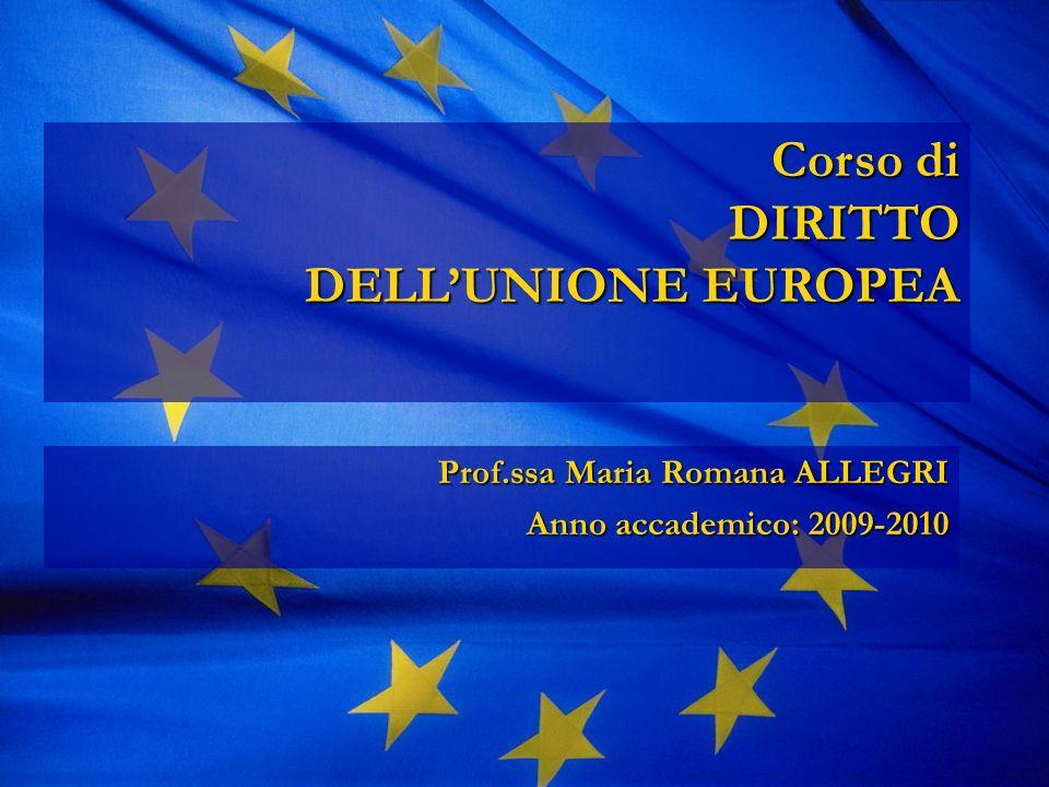Corso di DIRITTO DELLUNIONE EUROPEA Corso di DIRITTO DELLUNIONE EUROPEA Prof.ssa Maria Romana ALLEGRI Anno accademico: 2009-2010