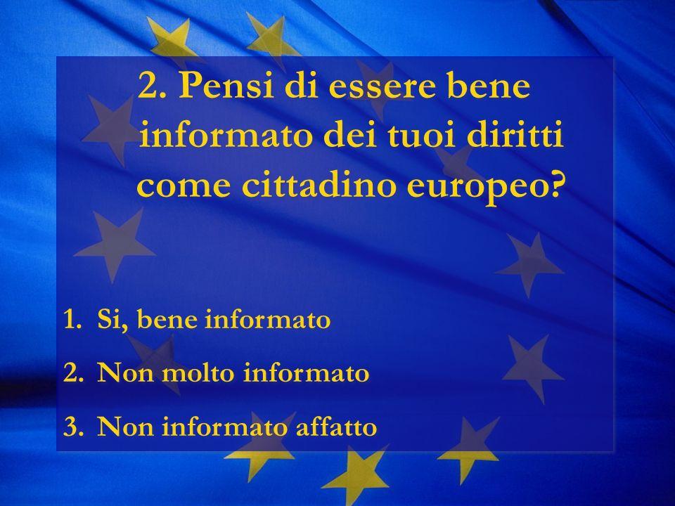 2. Pensi di essere bene informato dei tuoi diritti come cittadino europeo.