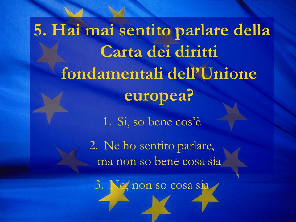 5. Hai mai sentito parlare della Carta dei diritti fondamentali dellUnione europea.