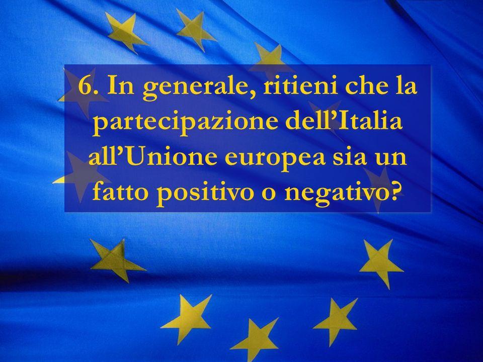 6. In generale, ritieni che la partecipazione dellItalia allUnione europea sia un fatto positivo o negativo?