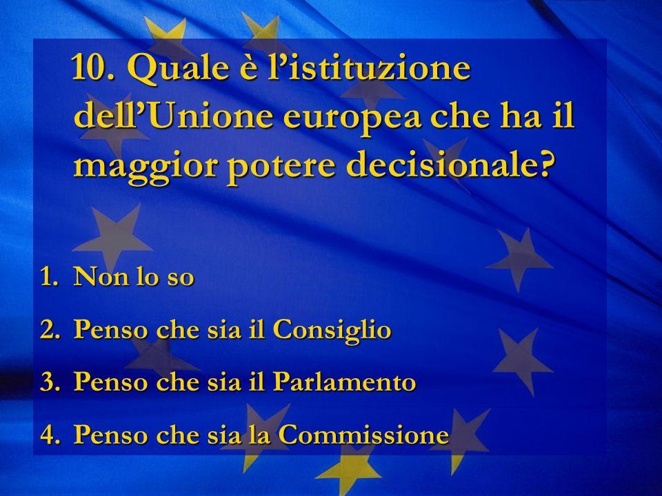 10. Quale è listituzione dellUnione europea che ha il maggior potere decisionale.