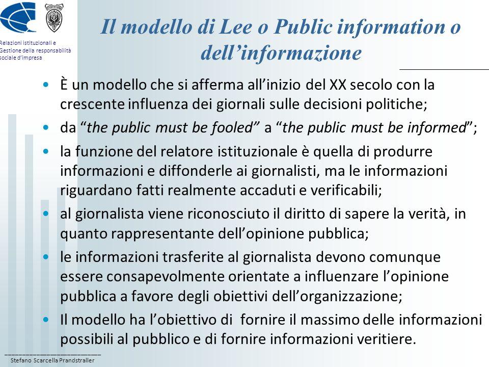 ____________________________ Stefano Scarcella Prandstraller Relazioni istituzionali e Gestione della responsabilità sociale dimpresa Il modello di Le