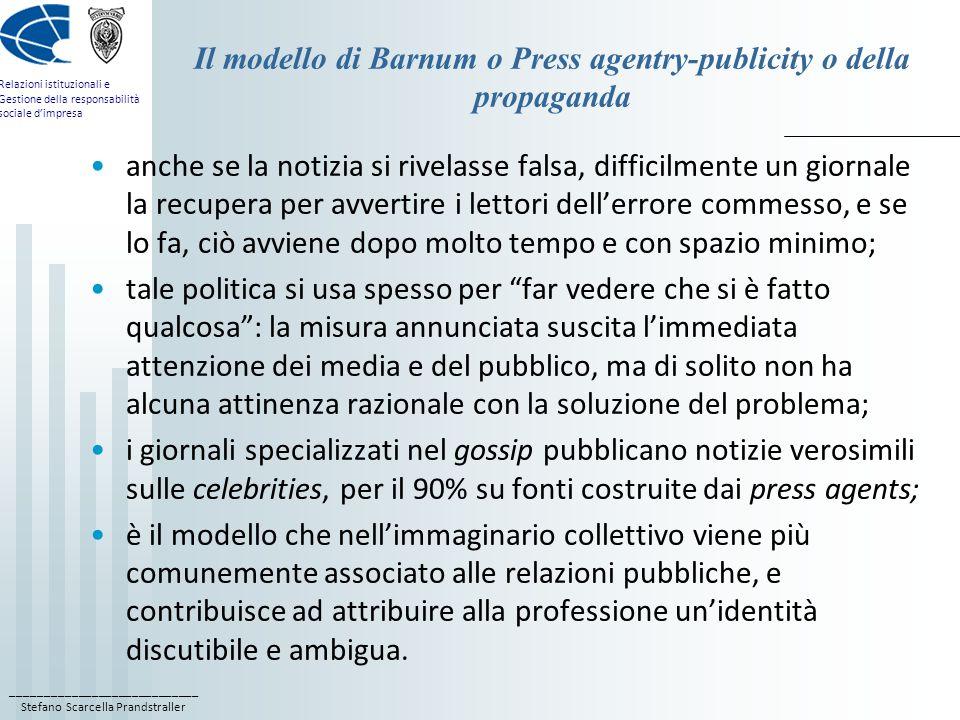 ____________________________ Stefano Scarcella Prandstraller Relazioni istituzionali e Gestione della responsabilità sociale dimpresa Il modello di Barnum o Press agentry-publicity o della propaganda I nostri prodotti sono fatti da nani asmatici.