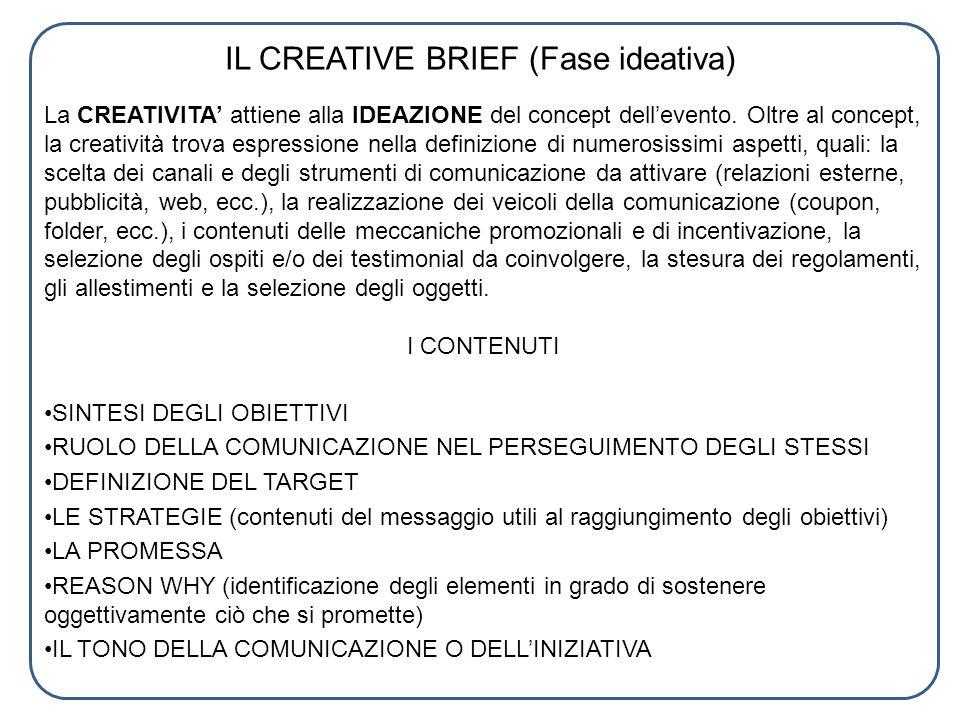 IL CREATIVE BRIEF (Fase ideativa) La CREATIVITA attiene alla IDEAZIONE del concept dellevento. Oltre al concept, la creatività trova espressione nella