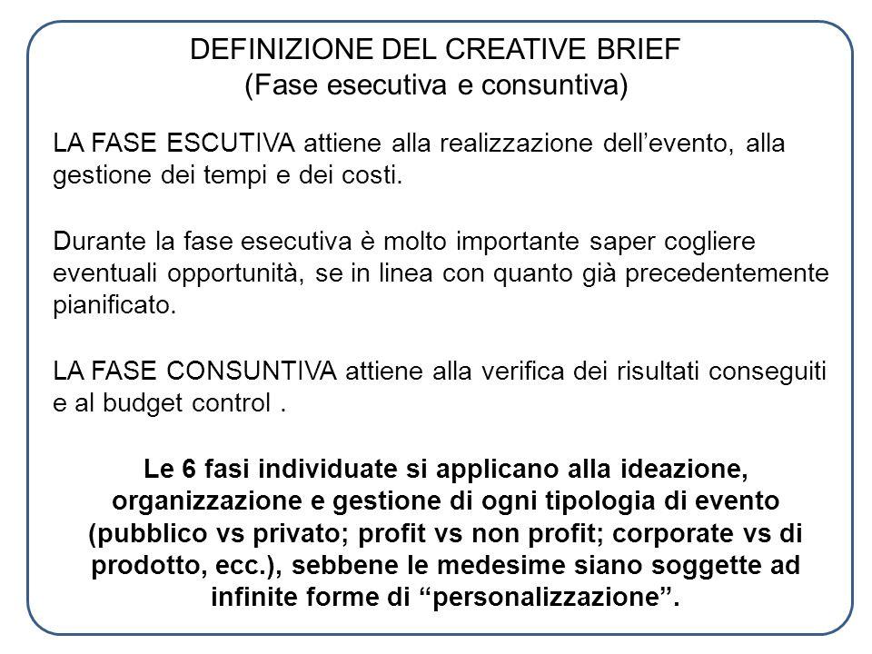 DEFINIZIONE DEL CREATIVE BRIEF (Fase esecutiva e consuntiva) LA FASE ESCUTIVA attiene alla realizzazione dellevento, alla gestione dei tempi e dei cos