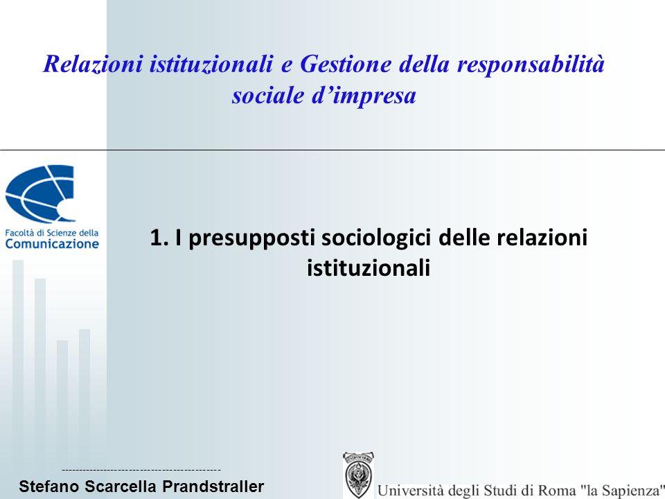 Relazioni istituzionali e Gestione della responsabilità sociale dimpresa 1.