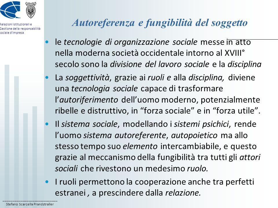 ____________________________ Stefano Scarcella Prandstraller Relazioni istituzionali e Gestione della responsabilità sociale dimpresa Autoreferenza e fungibilità del soggetto le tecnologie di organizzazione sociale messe in atto nella moderna società occidentale intorno al XVIII° secolo sono la divisione del lavoro sociale e la disciplina La soggettività, grazie ai ruoli e alla disciplina, diviene una tecnologia sociale capace di trasformare lautoriferimento delluomo moderno, potenzialmente ribelle e distruttivo, in forza sociale e in forza utile.