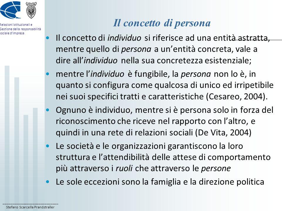 ____________________________ Stefano Scarcella Prandstraller Relazioni istituzionali e Gestione della responsabilità sociale dimpresa Il concetto di persona Il concetto di individuo si riferisce ad una entità astratta, mentre quello di persona a unentità concreta, vale a dire allindividuo nella sua concretezza esistenziale; mentre lindividuo è fungibile, la persona non lo è, in quanto si configura come qualcosa di unico ed irripetibile nei suoi specifici tratti e caratteristiche (Cesareo, 2004).