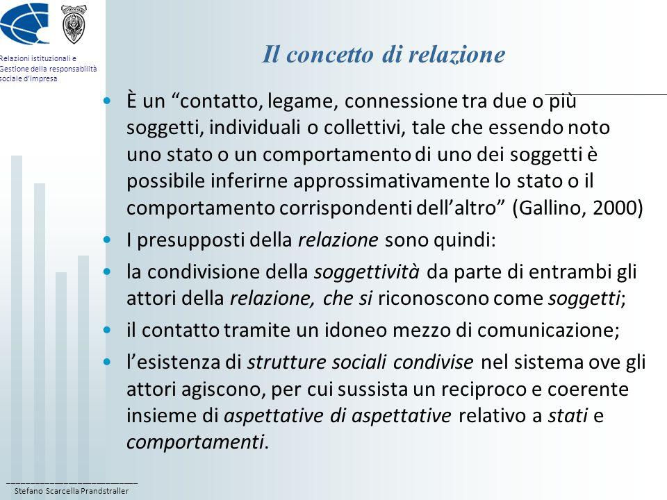 ____________________________ Stefano Scarcella Prandstraller Relazioni istituzionali e Gestione della responsabilità sociale dimpresa Il concetto di relazione È un contatto, legame, connessione tra due o più soggetti, individuali o collettivi, tale che essendo noto uno stato o un comportamento di uno dei soggetti è possibile inferirne approssimativamente lo stato o il comportamento corrispondenti dellaltro (Gallino, 2000) I presupposti della relazione sono quindi: la condivisione della soggettività da parte di entrambi gli attori della relazione, che si riconoscono come soggetti; il contatto tramite un idoneo mezzo di comunicazione; lesistenza di strutture sociali condivise nel sistema ove gli attori agiscono, per cui sussista un reciproco e coerente insieme di aspettative di aspettative relativo a stati e comportamenti.