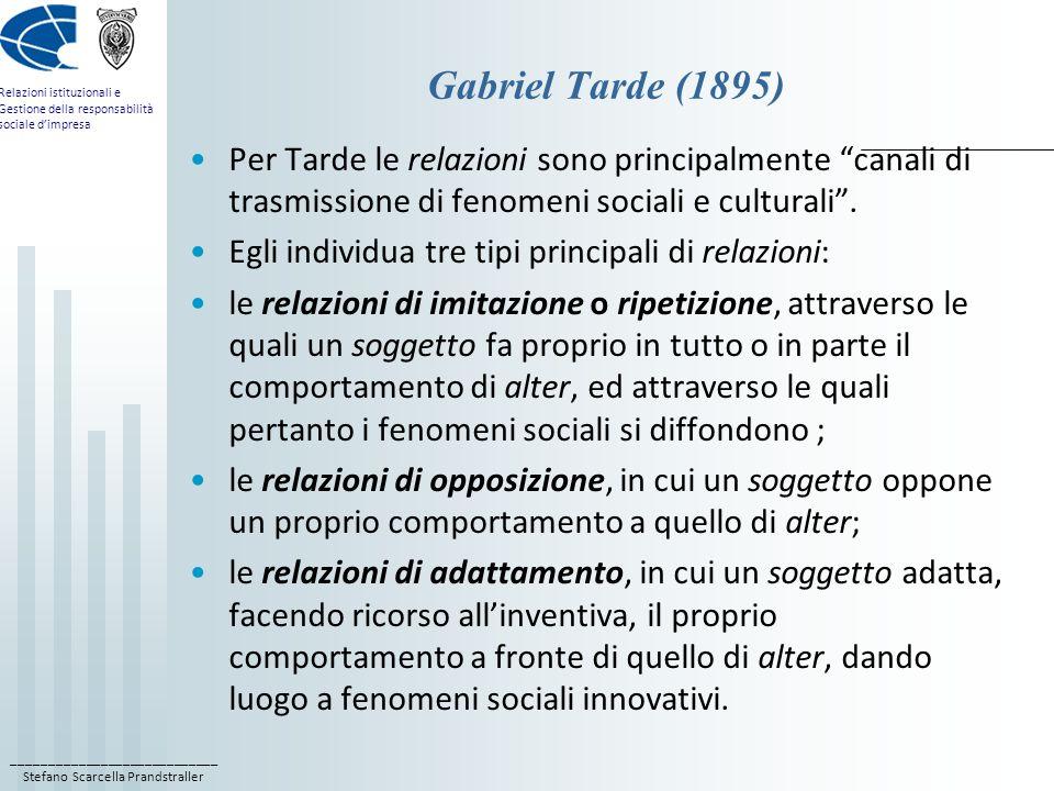 ____________________________ Stefano Scarcella Prandstraller Relazioni istituzionali e Gestione della responsabilità sociale dimpresa Gabriel Tarde (1895) Per Tarde le relazioni sono principalmente canali di trasmissione di fenomeni sociali e culturali.