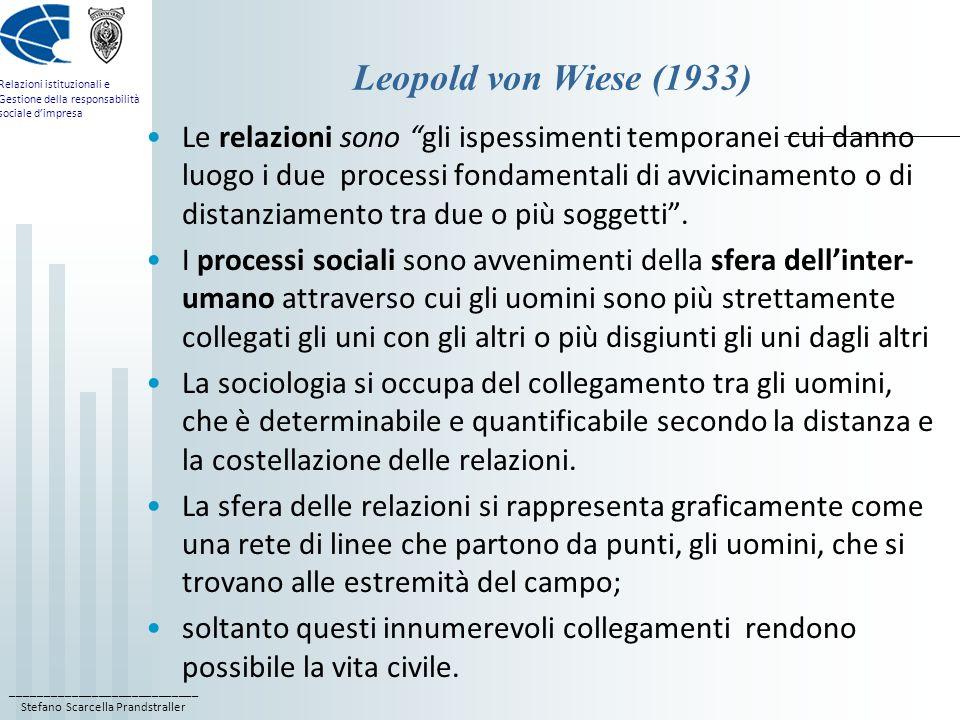 ____________________________ Stefano Scarcella Prandstraller Relazioni istituzionali e Gestione della responsabilità sociale dimpresa Leopold von Wiese (1933) Le relazioni sono gli ispessimenti temporanei cui danno luogo i due processi fondamentali di avvicinamento o di distanziamento tra due o più soggetti.